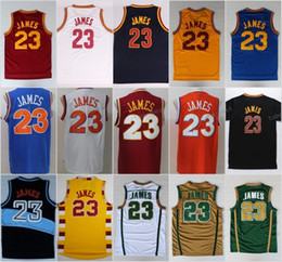 Wholesale Quick Stop - Men 23 LeBron James Jersey St. Vincent Mary High School Irish Blue White Red Yellow Basketball TUNESQUAD Throwback
