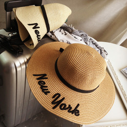 Wholesale Beaches New York - 2018 Fashion seaside NEW YORK straw hat summer sun visor hat along the beach hat female bow snapback for women