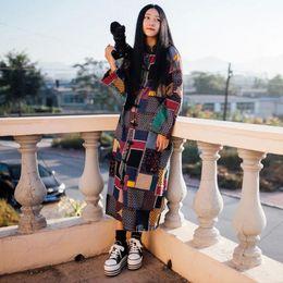 Wholesale Girls Ethnic Dresses - Wholesale- LZJN Spring Autumn Coats Women Long Sleeve Dress Ethnic Clothes Mori Girl Trench Coat Plaid Overcoat Vintage Windbreaker 1126