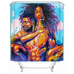 Haute qualité l'homme noir et femme avec violet cheveux bouclés dans l'amour imperméable rideau de douche tissu salle de bain rideau 2018 cadeau ? partir de fabricateur