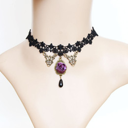 Wholesale faux suede necklace - whole saleElegant Sexy Black Lace Choker Faux Suede Gothic Choker rose Chokers 2017 New Necklace Jewelry for Women C651