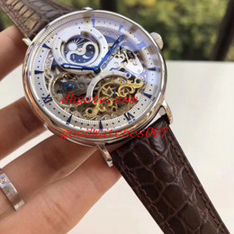 Wholesale Skeleton Date Automatic Mens Watch - 6 color Top High Quality 43mm Skeleton men automatic machinery Leather Strap BandsSports watch Automatic Mens Watch Watches