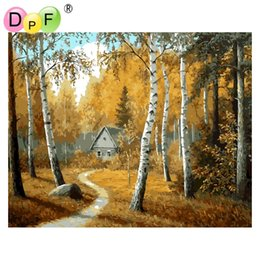 "Wholesale Forest Coloring - DPF ""Forest cabin"" Frameless Oil painting digital by numbers diy picture coloring on canvas handmade home decoration crafts"