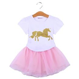 8974c9c048fa girls netting dresses skirts 2019 - Girls Clothing Sets Summer Cartoon  Unicorn skirt set T Shirts