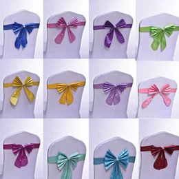 Wholesale Satin Chair Sashes Wholesale - Wedding Chair Cover Sashes Satin Chair Sash Bow Ties Butterfly Craft Chair Cover Decoration For Banquet Wedding Party
