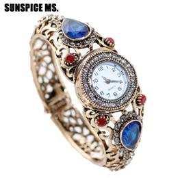 Relógio de pulso de casamento on-line-SUNSPICEMS Mulheres Turcas Retro Vintage Pulseira Assista Resina Cuff Quartz Relógio De Pulso Antigo Cor de Ouro DUBAI Jóias De Casamento Étnica