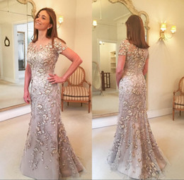 sexy mother bride dresses plus size Promo Codes - Short Sleeves Evening Dresses Lace Long Formal Godmother Mother of the Bride Party Guests Gown Plus Size Custom Made