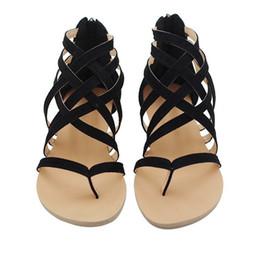 Плоский каблук клип Мыс выдалбливают римские сандалии лодыжки шлепанцы короткие каблуки пляжная обувь сандалии от Поставщики пальцы ноги плоские сандалии