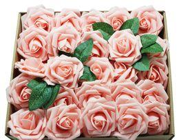 2019 i fiori artificiali sembrano reali Fiori artificiali Black Roses 50pcs Real Looking Rose finte con stelo per Matrimonio Wedding Bouquet Centrotavola Arrangiamenti Party Home Halloween i fiori artificiali sembrano reali economici