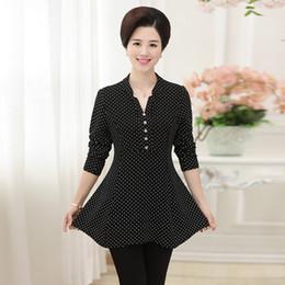 frauen mittleren alters Rabatt Frühling Sommer New Middle-Aged Frauen Bluse Shirt Stehkragen Mode Dotcasual Shirt Mode Mutter Bluse T31