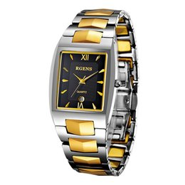Мужские наручные часы из вольфрамовой стали онлайн-loves woman man wristwatches waterproof  gold womens mens watches tungsten steel quartz square calendar ladies male clocks