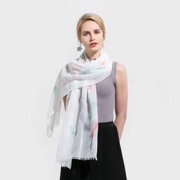 sciarpa blu fringe Sconti Winfox New Fashion Primavera Estate White Sky Blue Feather Stampa lunghe frange Sciarpe e scialli Donna Ladies
