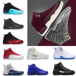 Wholesale Blue Green Shoes - 2018 shoes 12 Bordeaux Dark Grey wool basketball shoes ovo white Flu Game UNC Gym red taxi gamma french blue Suede sneaker shoe