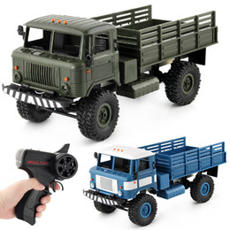 Wholesale military metal box - 1:16 Remote Control Military Truck 6 2.4G 4WD Wheels Drive Off-Road RC Car 4WD battery-powered Climbing Car RTR Toy for Children Kids Xmas