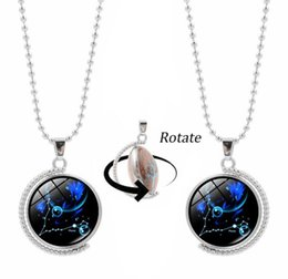 Wholesale Rotary Day - Double side rotatable twelve constellations necklace Time Gem Double-Sided 360 degrees rotary pendant necklace Free shipping