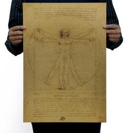 Carta da stampa di decalcomanie a parete online-Leonardo Da Vinci Manoscritti Vitruviano Uomo Vintage Kraft Paper Movie Poster Home Decor Stickers murali Art DIY Retro Decor stampe