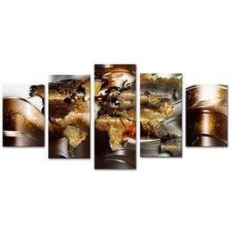 contemporary pictures paintings Promo Codes - Modern Gold Abstract Map Canvas Print Wall Art Contemporary Painting 5 Pieces Decorations Large Picture Ready to Hang on Framed