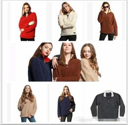 Wholesale Wholesale Solid Color Sweaters - WOMEN Casual Sherpa Fleece Sweater Tops Outwear Jumper Women Casual Fleece Hooded streetwear Hip Hop Sweatshirt hoodie designer