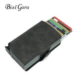 Wholesale Mini Letters - BISI GORO 2018 Men And Women 2 Metal Credit Card Holder Aluminium RFID Blocking PU Wallet Hasp Mini Vintage Wallet Hold 14 Cards