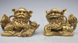 Löwe foo fu hund statue online-Chinesische Bronze Kupfer Fengshui Fu Foo Dog Lion Gewinnen Reichtum PiXiu Statue Pair
