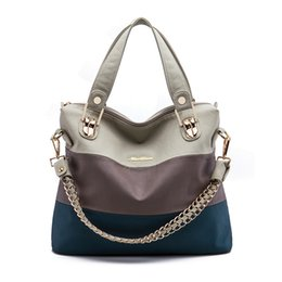 Wholesale Mix Color Handbag Shoulder Bag - Luxury Retro zipper Women Handbag PU Leather Hobo Shoulder Splicing three colors PU mixing design casual Messenger Bags