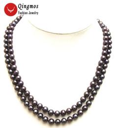 schwarze süßwasserperlenstränge Rabatt Qingmos Black Natural Perlenkette für Frauen mit 6-7mm Runde Süßwasserperle 2 Strands 17-18