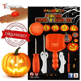 Wholesale toy pumpkins - TOFOCO Funny 5pcs set Halloween Pumpkin Carving Tool Toys For Kids Adult DIY Halloween Patterns