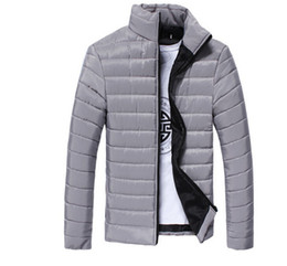 Wholesale men padded jackets - Mens Spring Autumn Down Jackets Thin Slim Fit Coats Cotton-padded Solid Color Long Sleeved Jacket Outerwear