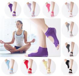 Wholesale Yoga Half Toe Socks - Women Yoga Socks Anti-slip Cotton Exposed Toe Socks Solid Color Half Five Finger Female Non-Slip Sports Socks