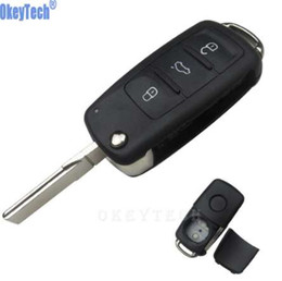 Llavero de golf online-OkeyTech 3 Botones Flip Remote Car Key Case Shell para Volkswagen VW Jetta Golf Passat Beetle Polo Bora Uncut Blade Blank Key Fob