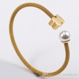 Wholesale Pearls Bangles - TL Stainless Steel Bear Bangle Bracelet 3 Colours Never Fade Water Pearl Hot Selling For Women