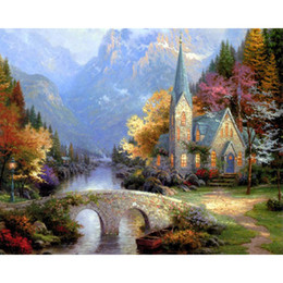 Wholesale Framed Canvas Acrylic Paintings - DIY pictures by numbers Church in Mountains Scenery paintings by numbers with acrylic Modular wall paintings