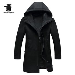 Wholesale Worsted Coat Hoods - Men's Wool Coat Winter Brand Fashion Hood High Quality Plus Size Wool Parka Coat For Men Overcoat Casaco Masculino C42F1812