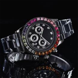 Wholesale date crystal - wholesale high quality womens designer watches luxury watch brand full diamond Crystal Rhinestone calendar Black dial stainless steel clock