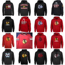 Wholesale Green Pull - Chicago Blackhawks Hockey Hoodies Sweatshirts Skull Head Pull Over All Stiched Embroider Logo Hoodie For Men Women Youth