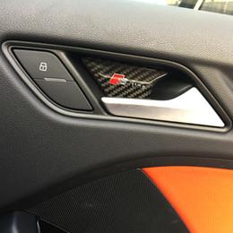 Wholesale Audi A4 Carbon - Car styling Carbon Fiber Interior door inside door bowl panel wrist cover trim stickers for Audi A3 A4 A5 A6 A7 Q3 Q5 B6 Accessories