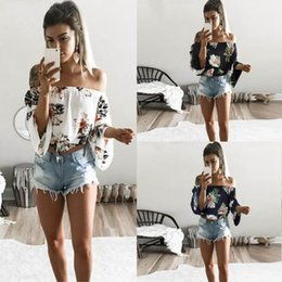 Wholesale off shoulder shirts wholesale - Women Floral Off Shoulder Blouse Casual Crop Top Summer Long Sleeve Tee T-Shirt Strapless Casual Loose Tops LJJO4526
