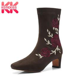 2019 botas bordadas zapatos KemeKiss Botas de mujer Zapatos de mujer de invierno Bordar Stretch Boots Moda Classic Calzado de las señoras mediados de pantorrilla Tamaño 34-40 botas bordadas zapatos baratos