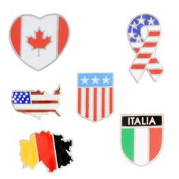 Pins de distintivo de botão on-line-Bandeiras nacionais Esmalte Pino Canadense Americano Alemão Italiano Bandeira Broche Pin Botão Chapéu Saco de Roupas Gola Pin Crachá Presente Da Jóia do navio da gota