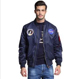 Chaqueta universitaria varsity online-Nueva ropa de hombre Primavera otoño delgado NASA Navy chaqueta voladora hombre varsity american college bomber flight jacket para hombres