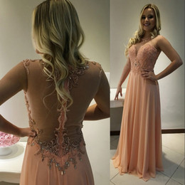 Wholesale Beautiful Columns - Beautiful Peach Sheer Backless Evening Dresses Formal Prom Dresses 2018 A Line Crew Neck Appliques Crystals Long Vestidos de fiesta