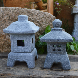 2019 lámparas de estilo japonés Lámpara de estilo japonés Piedra de imitación Pequeña lámpara de viento Adornos de jardín Luces de velas Decoración de jardinería Nueva Caliente rebajas lámparas de estilo japonés
