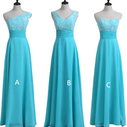 Wholesale color light blue evening gowns - Turquoise Lace Chiffon Country Long Bridesmaid Dresses 2018 Beach Wedding Party Dresses Lace Up Evening Gowns 100% Real Pictures