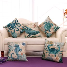 Sea Turtle Waist cuscino Cuscino Marine Ocean Sea Horse Home Decor Federa Polpo Divano Cuscino Caso Lanciare il cuscino da