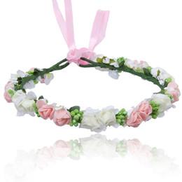Mode Rosa Blume Krone Hochzeit Braut Kranz Corolla 2018 Heißer Böhmen Roten Diademe Haarschmuck Stirnband Frauen Mädchen Geschenk Haarschmuck von Fabrikanten