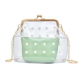 bolsas coreanas de bloqueo Rebajas Bolso de la cadena de las señoras del bolso de Shell de la cerradura del cristal de la playa de la perla coreana nueva, perla del bolso de Shell, trasparent compuesto