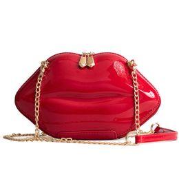 Canada Wholesale été personnalité verni en cuir lèvres stéréotypes sac à bandoulière fashion mode coréenne de la chaîne diagonale épaule petit sac Offre