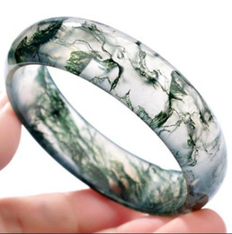 Wholesale Ice Jade Bangle - Ice flowers floating children in India pure natural grass Bracelet agate bracelet genuine jade bracelet