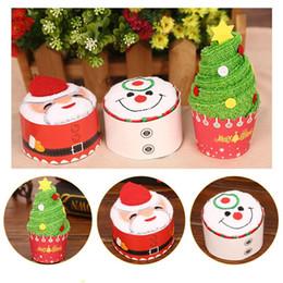 Wholesale Christmas Cake Towel Gift - 1Pcs New Santa Claus Snowman Christmas Tree Cake Modelling Cotton Towel Creative Gifts Size 30*30cm W1478