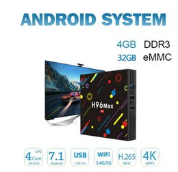 Wholesale Satellite Hd Tv Box - New H96 max android satellite tv receiver box RK3328 Android 7.1 4G 32G KD Player 17.3 2.4G 5G dual WIFI USB 3.0 pk s905w s912 iptv box